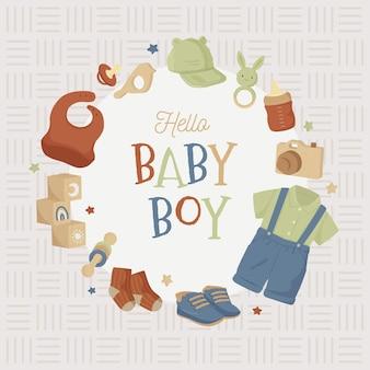 Baby shower uitnodigingskaart esthetisch neutraal aardetoon frame voor babyjongen en meisje