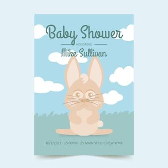 Baby shower uitnodigingskaart met schattige konijntje