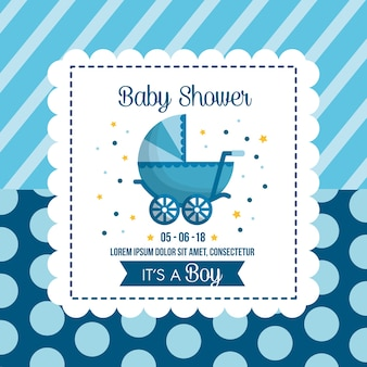 Baby shower viering achtergrond bubbels strepen blauwe babe vervoer gelukkig dag