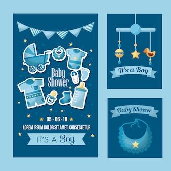 Baby shower viering banners pennats kleding slabbetje speelgoed