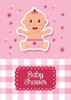 Baby shower viering labels stripe vierkante achtergrond meisje lacht bloemen