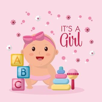 Baby shower viering meisje lachend kubussen bloemen speelgoed