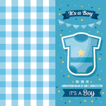 Baby shower viering vierkant blauwe achtergrond kleding wimpels jongen geboren