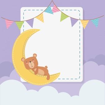 Baby shower vierkante kaart met kleine beer teddy en maan