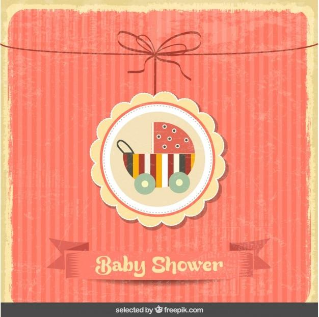 Baby shower vintage kaart met kinderwagen