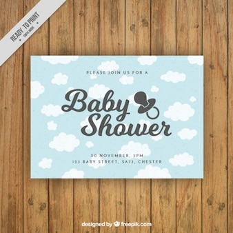 Baby shower wolken kaart
