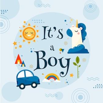 Baby shower zelfs illustratie voor jongen