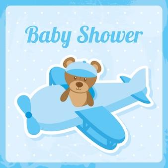 Baby showerontwerp over blauwe vectorillustratie als achtergrond