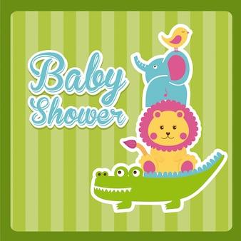 Baby showerontwerp over groene vectorillustratie als achtergrond