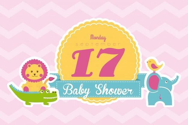 Baby showerontwerp over roze vectorillustratie als achtergrond