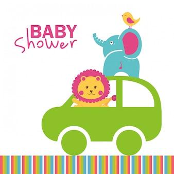 Baby showerontwerp over witte vectorillustratie als achtergrond