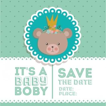 Baby showeruitnodiging met beerbeeldverhaal