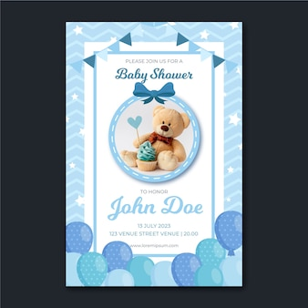 Baby showeruitnodiging met foto