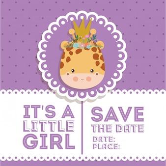 Baby showeruitnodiging met girafbeeldverhaal