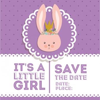 Baby showeruitnodiging met konijnbeeldverhaal