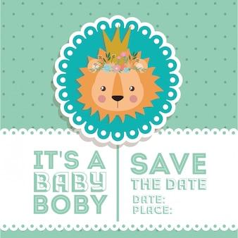Baby showeruitnodiging met leeuwbeeldverhaal