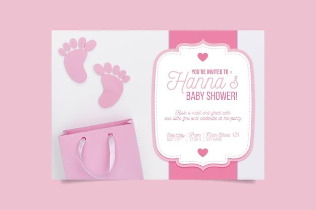 Baby showeruitnodiging met meisjesfoto