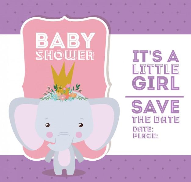 Baby showeruitnodiging met olifantsbeeldverhaal