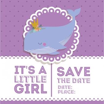 Baby showeruitnodiging met walvisbeeldverhaal
