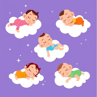 Baby slaap op wolk ingesteld