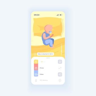 Baby slapen in bed smartphone interface vector sjabloon. mobiele app-pagina paarse ontwerplay-out. kind in slaap. platte gebruikersinterface voor toepassing. kleine jongen, meisje slaaptijd tellen. telefoonweergave