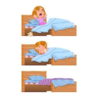 Baby slapen, wakker in bed geeuwen na slaap - stripfiguur