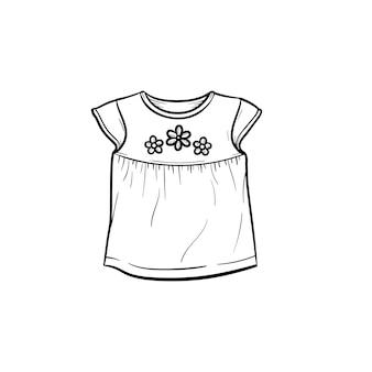 Baby t-shirt met bloemen hand getrokken schets doodle pictogram. baby mode en kleding concept schets vectorillustratie voor print, web, mobiel en infographics geïsoleerd op een witte achtergrond.