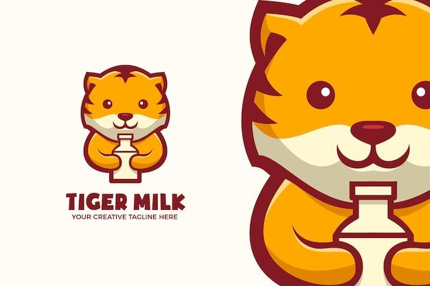 Baby tijger drink melk mascotte karakter logo sjabloon
