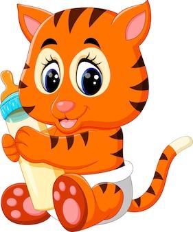 Baby tijger houden melkfles