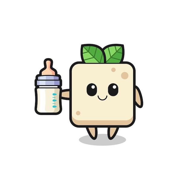 Baby tofu stripfiguur met melkfles, schattig stijlontwerp voor t-shirt, sticker, logo-element