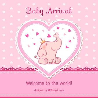 Baby van aankomst kaart in roze tinten