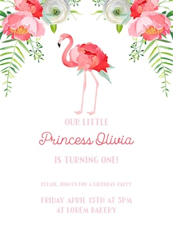 Baby verjaardag uitnodigingskaart met illustratie van mooie flamingo en bloemen, aankondiging van de aankomst, groeten in vector