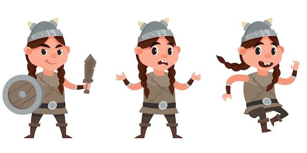 Baby viking in verschillende poses. vrouwelijk kind in cartoon-stijl.