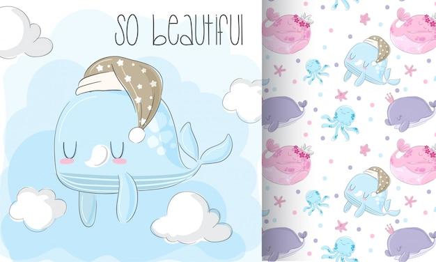 Baby walvis patroon set hand tekenen illustratie