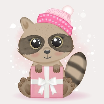 Baby wasbeer en geschenkdoos aquarel illustratie