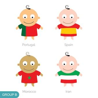 Baby world football, grappige cartoon
