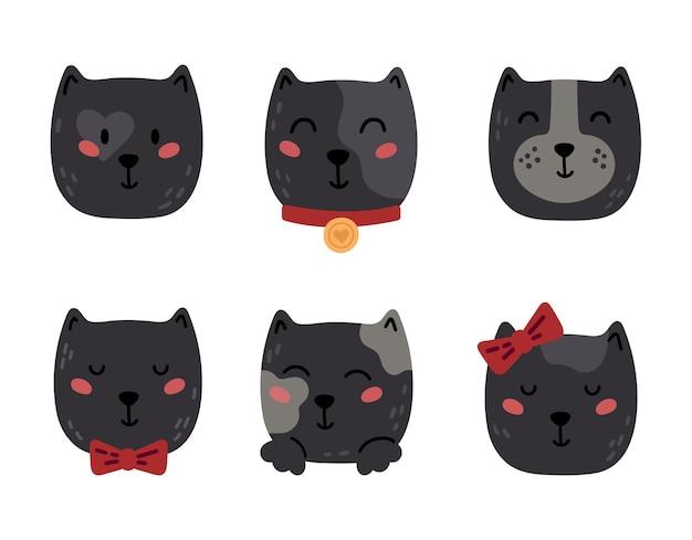 Baby zwarte kat gezichten kinderen elementen geïsoleerd