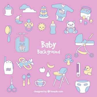 Babyachtergrond met leuke elementen