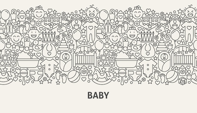 Babybannerconcept. vectorillustratie van lijn webdesign.