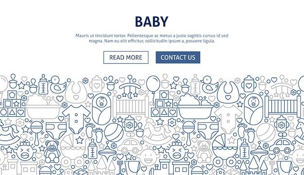 Babybannerontwerp. vectorillustratie van lijn webconcept.