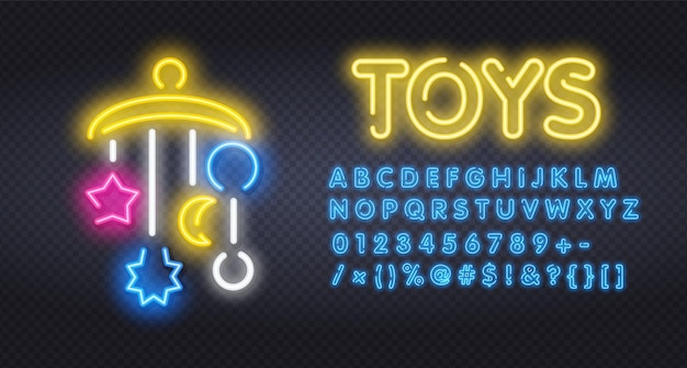 Babybed carrousel neon licht pictogram illustratie