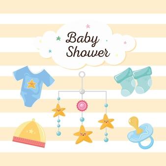 Babydouche belettering in wolk met pictogrammen afbeelding ontwerp