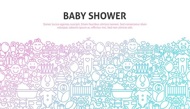 Babydouche-concept. vectorillustratie van lijn website design. sjabloon voor spandoek.