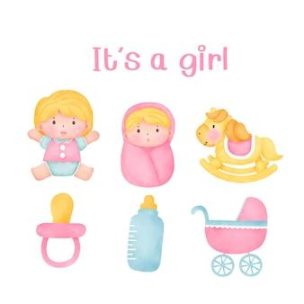 Babydouche het is een meisjeselementen.