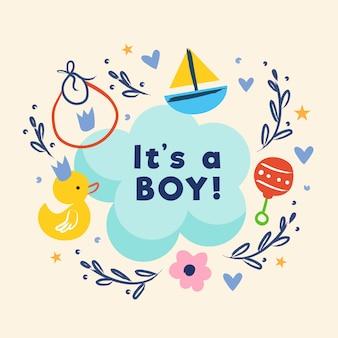 Babydouche (jongen) met speelgoed