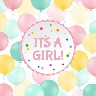 Babydouche kaart, het is een meisje