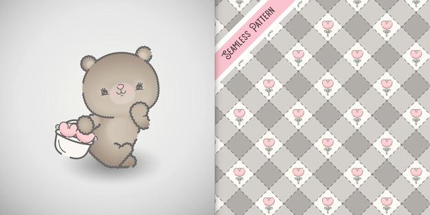 Babydouche kaart met kleine beer karakter en bloemmotief