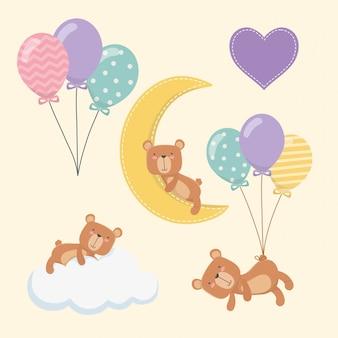 Babydouche kaart met kleine beren tekens