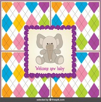 Babydouche kaart met mooie olifant