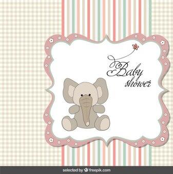 Babydouche kaart met olifant in pastel kleuren